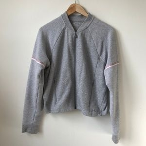 Under Armour Gray Knit Bomber Jacket Size Small